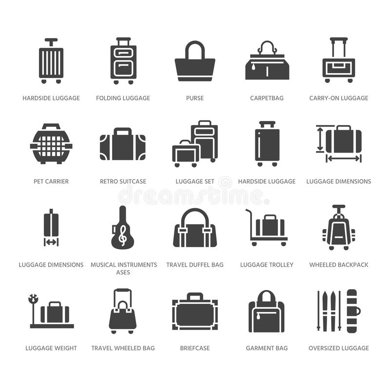 Luggage flat glyph icons. Carry-on, hardside suitcases, wheeled bags, pet carrier, travel backpack. Baggage dimensions. And weight signs. Solid silhouette pixel vector illustration