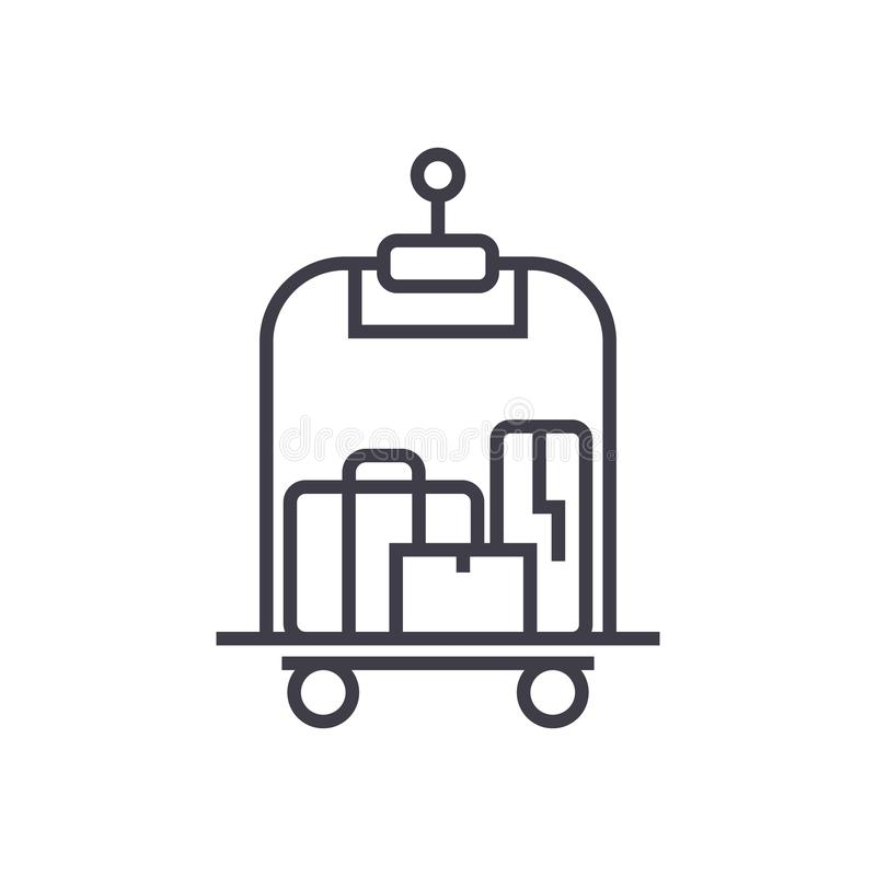 Luggage in hotel vector line icon, sign, illustration on background, editable strokes stock illustration