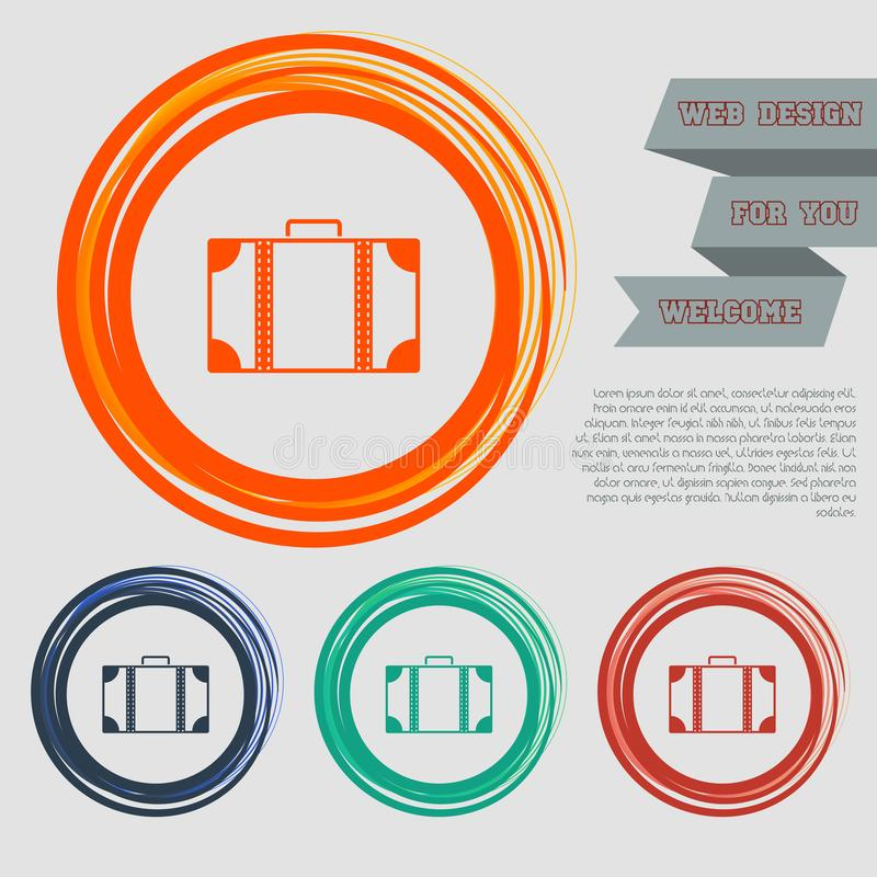 Luggage icon on the red, blue, green, orange buttons for your website and design with space text. vector illustration