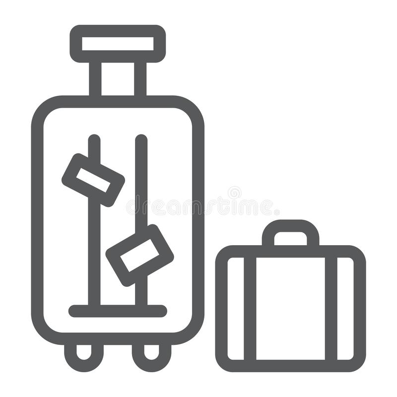 Luggage line icon, suitcase and bag, baggage sign, vector graphics, a linear pattern on a white background. vector illustration