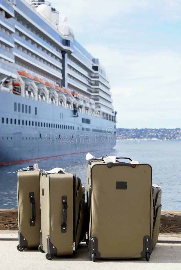Download Luggage Next To Cruise Ship On Dock Stock Image - Image: 7903291