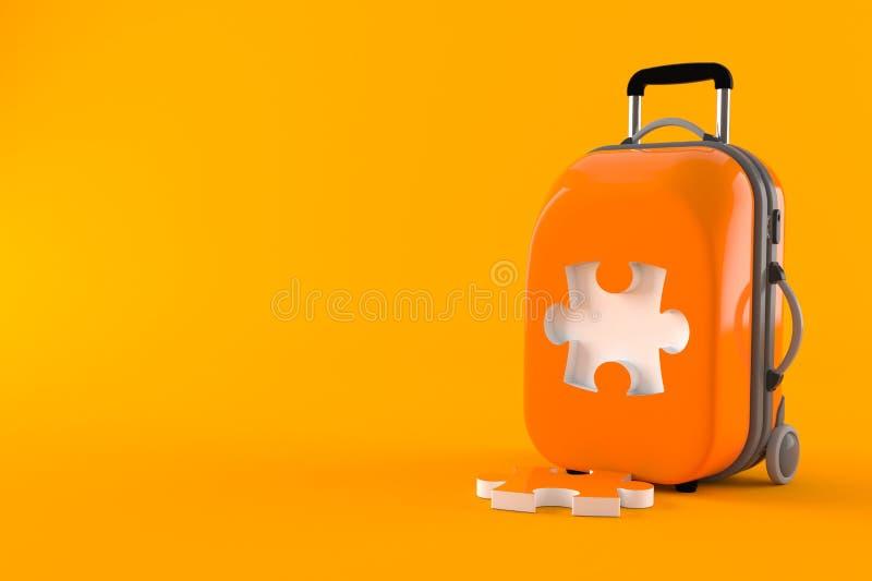 Luggage with puzzle part. Isolated on orange background. 3d illustration stock illustration