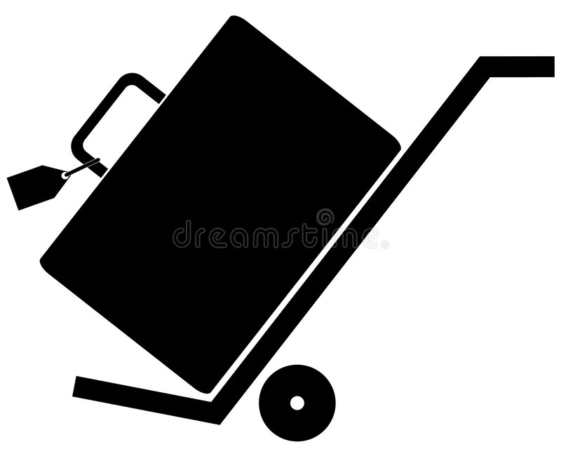 Download Luggage On Rolling Hand Cart Stock Vector - Illustration of store, black: 5656913