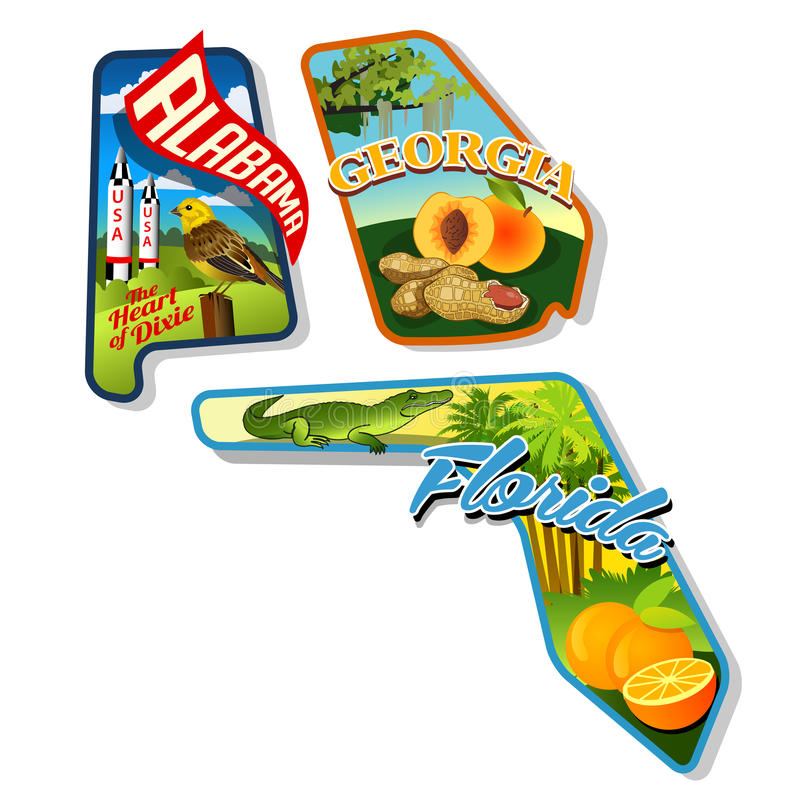 Free Luggage Stickers Of Alabama, Georgia, Florida Royalty Free Stock Photo - 38382675