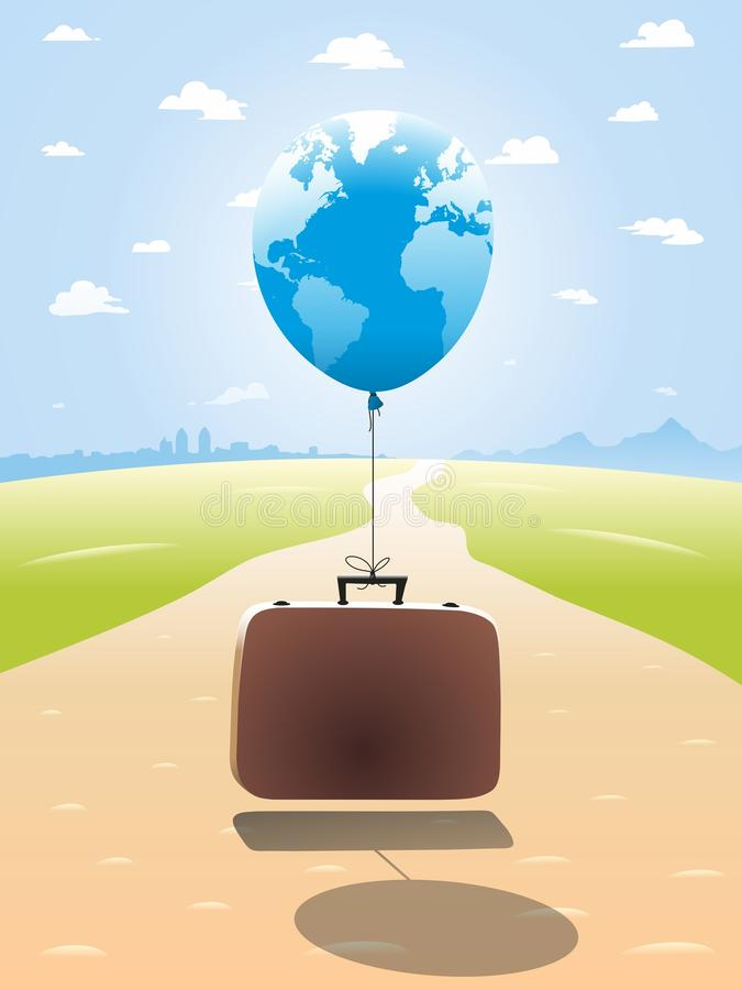 Luggage. Suitcase with luggage encourages travel. Vector format