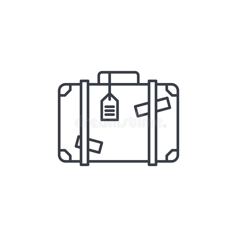 Luggage, suitcase, travel bag whith stickers thin line icon. Linear vector symbol vector illustration