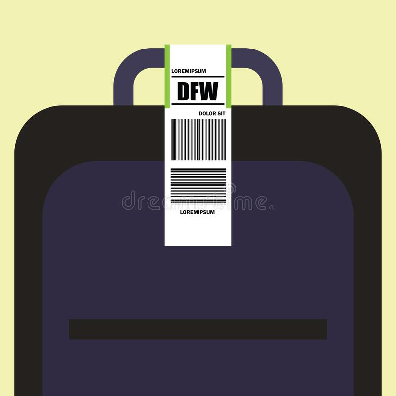 luggage tag label on suitcase with dallas united states country code and barcode royalty free illustration