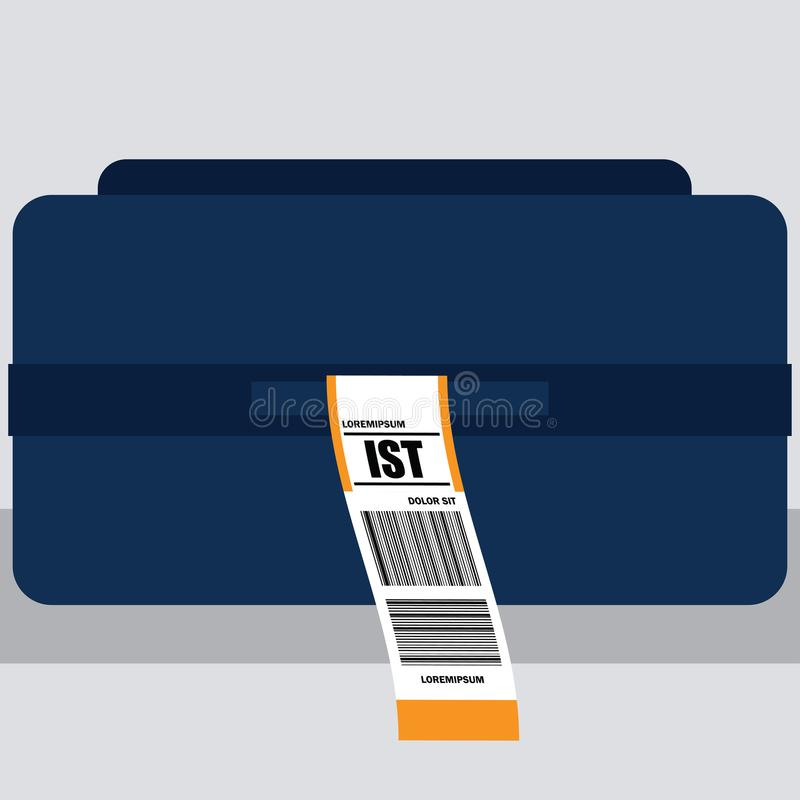 luggage tag label on suitcase with istanbul turkey country code and barcode vector illustration