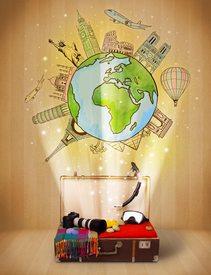 Download Luggage With Travel Around The World Illustration Concept Stock Photo - Image: 34185648