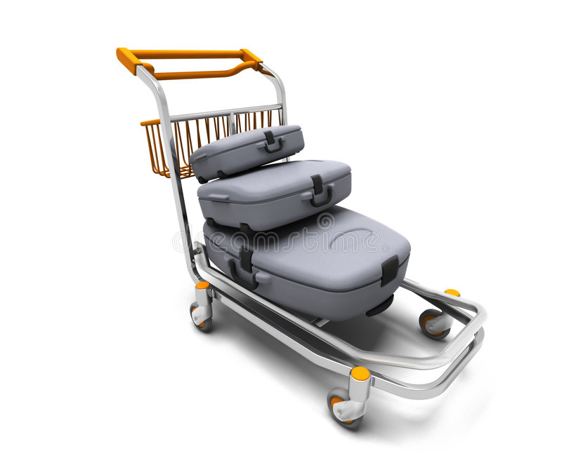 Download Luggage trolley stock illustration. Illustration of trolley - 4084697