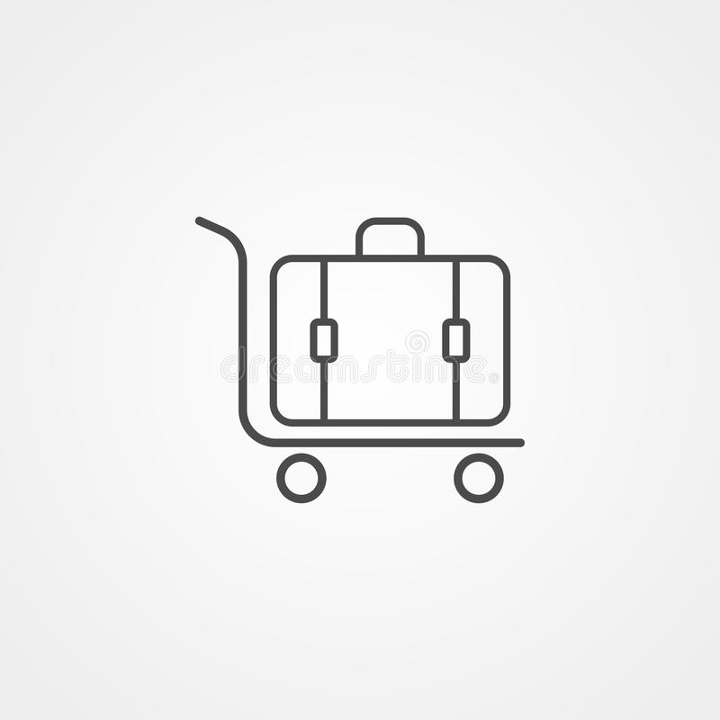 Luggage trolley vector icon sign symbol stock illustration