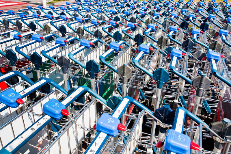 Download Luggage trolleys stock photo. Image of outdoor, arrival - 20987478