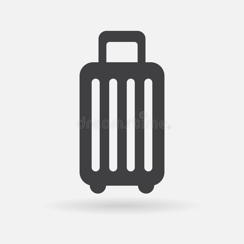 Luggage vector icon, baggage trolley sign, suitcase travel concept. Flat design illustration isolated on white background royalty free illustration