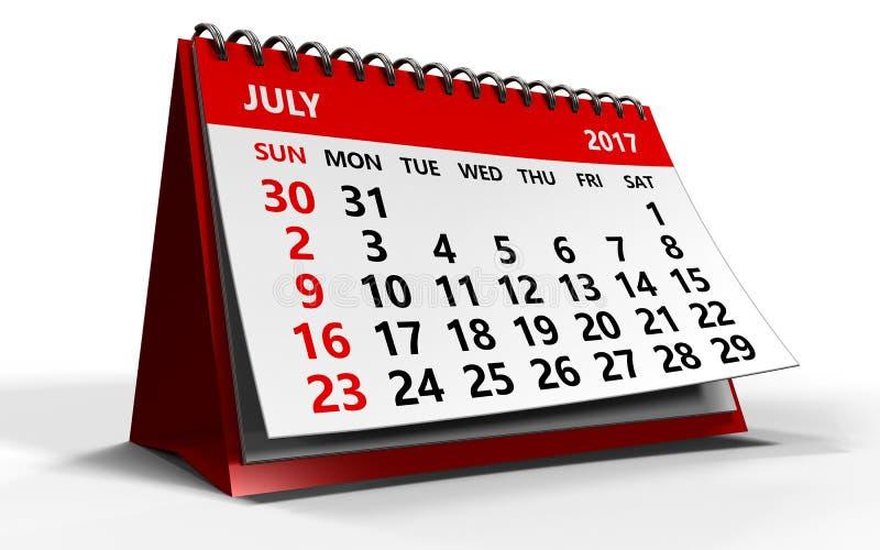 Luglio 2017 calendario illustrazione vettoriale