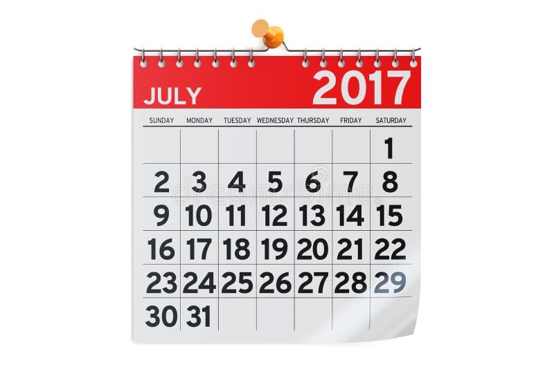 Luglio 2017 calendario, rappresentazione 3D illustrazione di stock