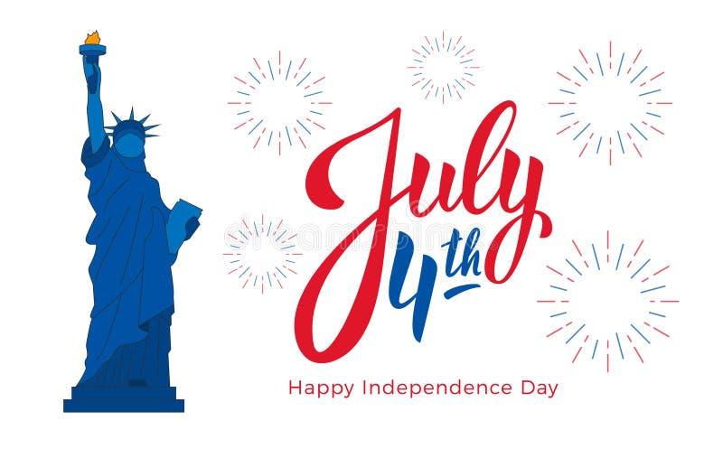 4 luglio, celebrazione di festa dell'indipendenza di U.S.A. Insegna con iscrizione, la statua della libertà ed i fuochi d'artific illustrazione vettoriale