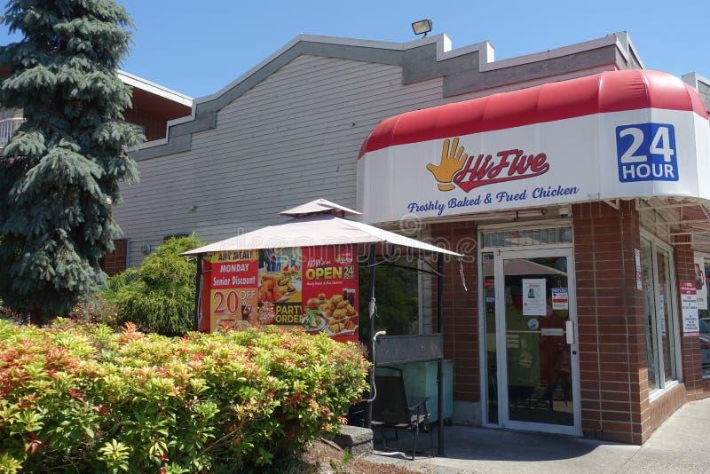4 luglio 2019 - ciao fast food cinque a Vancouver, BC Canada immagini stock libere da diritti