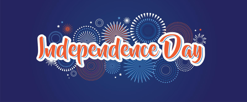 4 luglio fondo dei fuochi d'artificio, quarta insegna di vettore, decorazione americana della bandiera nazionale, festa dell'indi illustrazione vettoriale