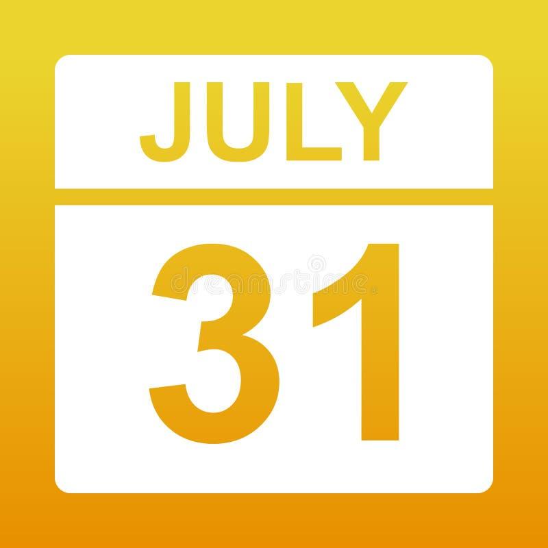 Calendario 31 Luglio.31 Luglio Icona Del Calendario Illustrazione Di Stock
