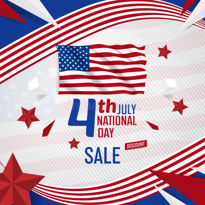 4 luglio insegna di festa dell'indipendenza degli S.U.A. con il modello di vettore della bandiera americana illustrazione vettoriale