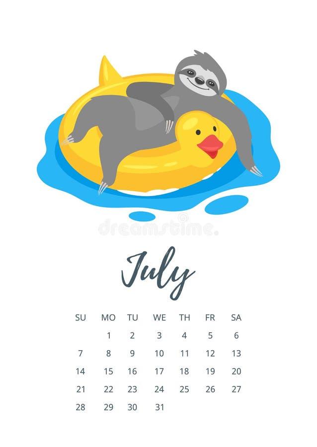 Pagina Di Calendario Luglio 2019.Luglio 2019 Pagina Del Calendario Di Anno Illustrazione