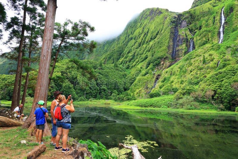 30 luglio 2017 - Pozo da Alagoinha, isola del Flores immagini stock libere da diritti