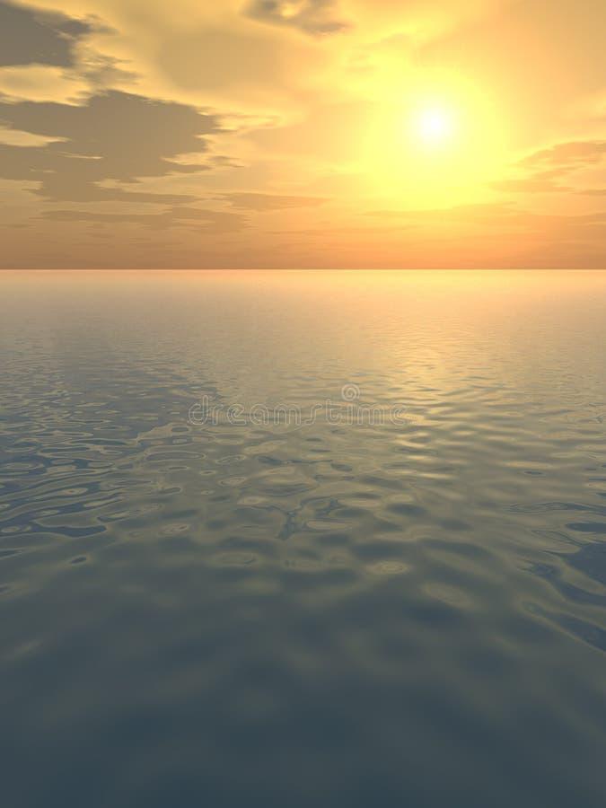 Lugna Glödorange över Havet Royaltyfri Fotografi