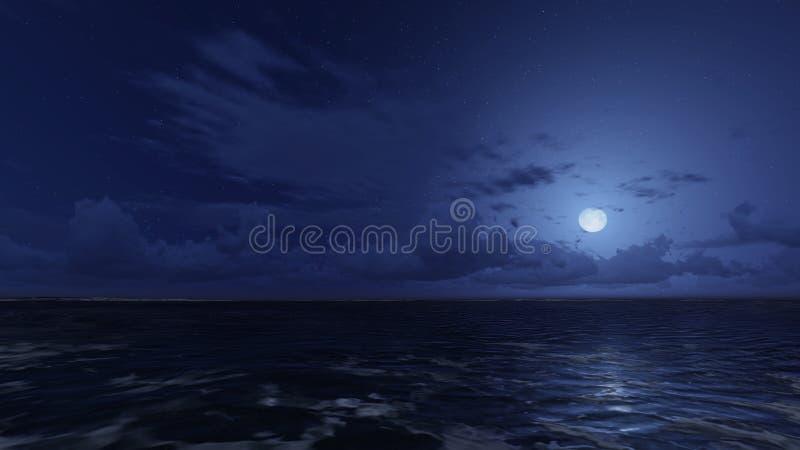 Lugna hav under himmel för stjärnklar natt stock illustrationer