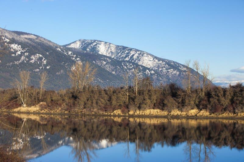 Lugna sceniska flod och berg. arkivbild