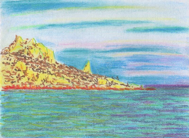 lugna seascape Stenig udde med skogen stock illustrationer