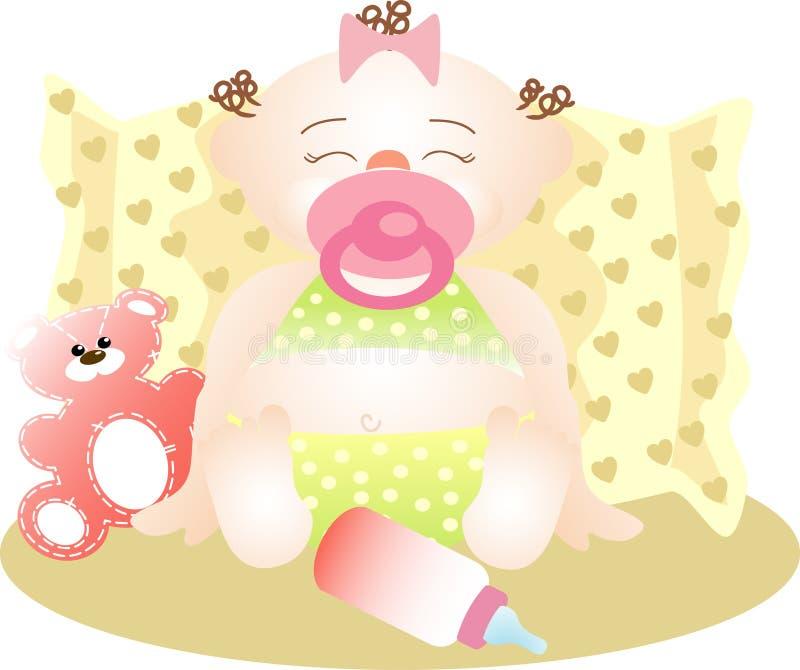 lugnat sova för flicka som är litet royaltyfri illustrationer