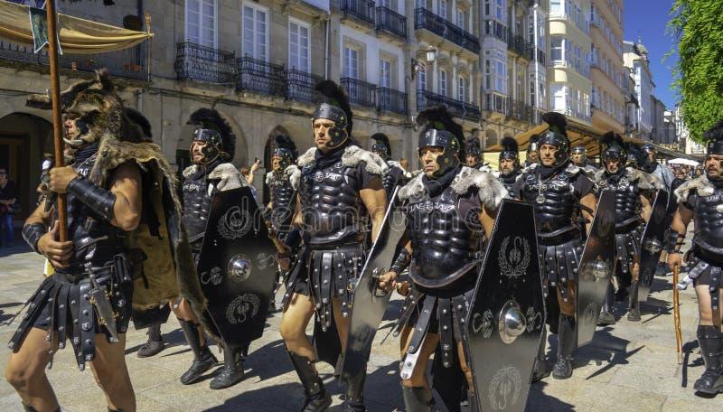Lugo, Galizien; 06 17 2018: Pretorian Truppe Arde Lucus, Partei in Lugo stockfoto