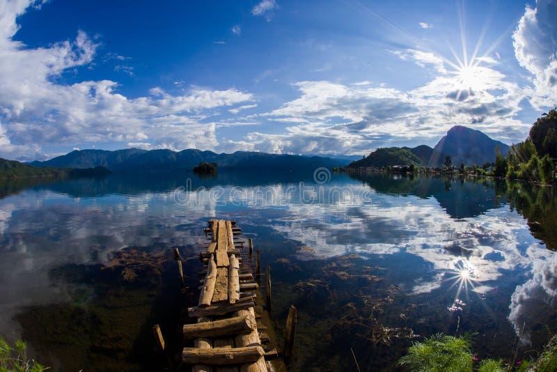 Lugu Lake royaltyfria bilder