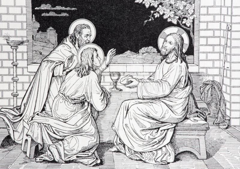Lui cena di Gesù con i due discepoli in litografia di Emmaus fotografia stock