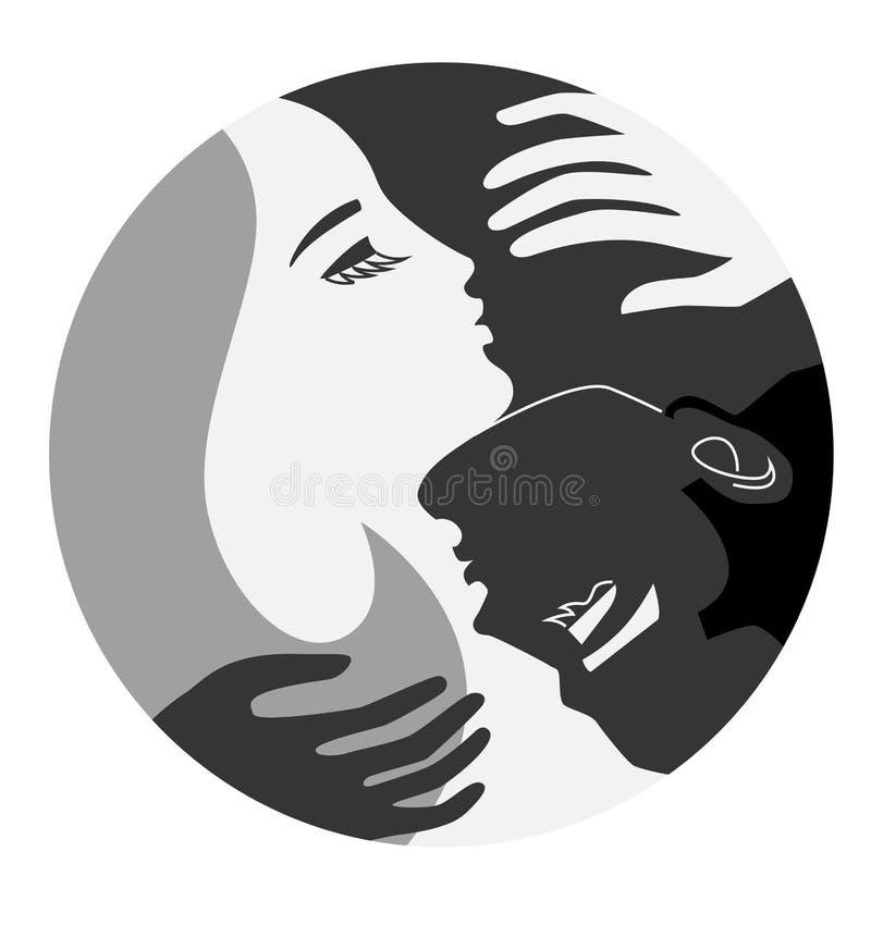Lui et elle emblème d'unité, Yin et Yang illustration de vecteur