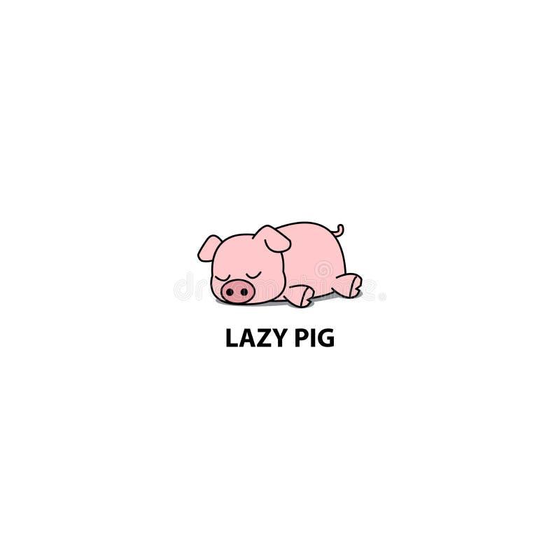 Lui varken, weinig piggy slaappictogram, embleemontwerp stock illustratie