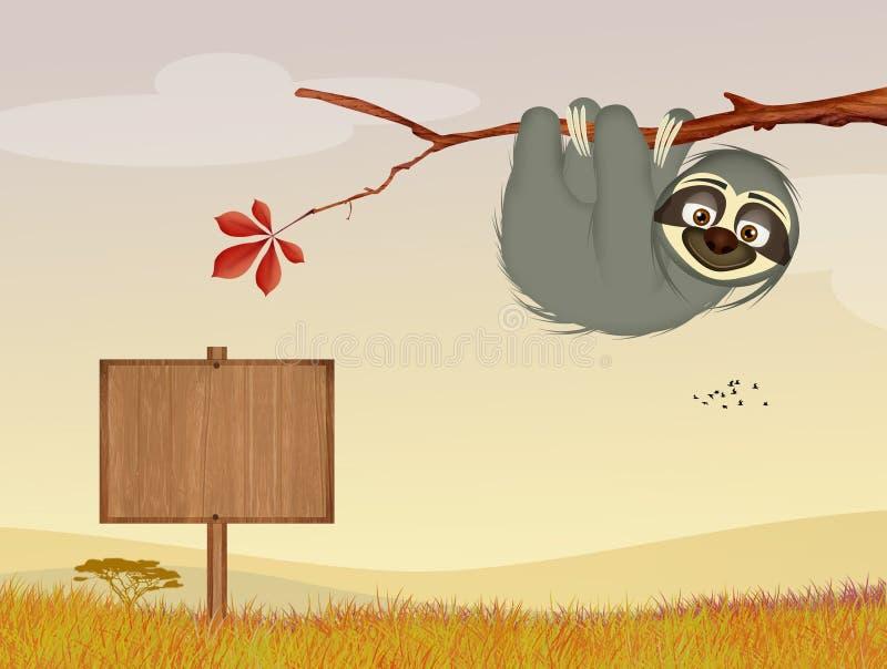 Luiaard in de wildernis royalty-vrije illustratie