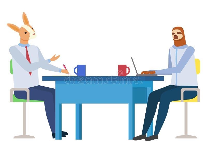 Luiaard en Konijn in Bureau, de Dierlijke Vector van Hipster stock illustratie
