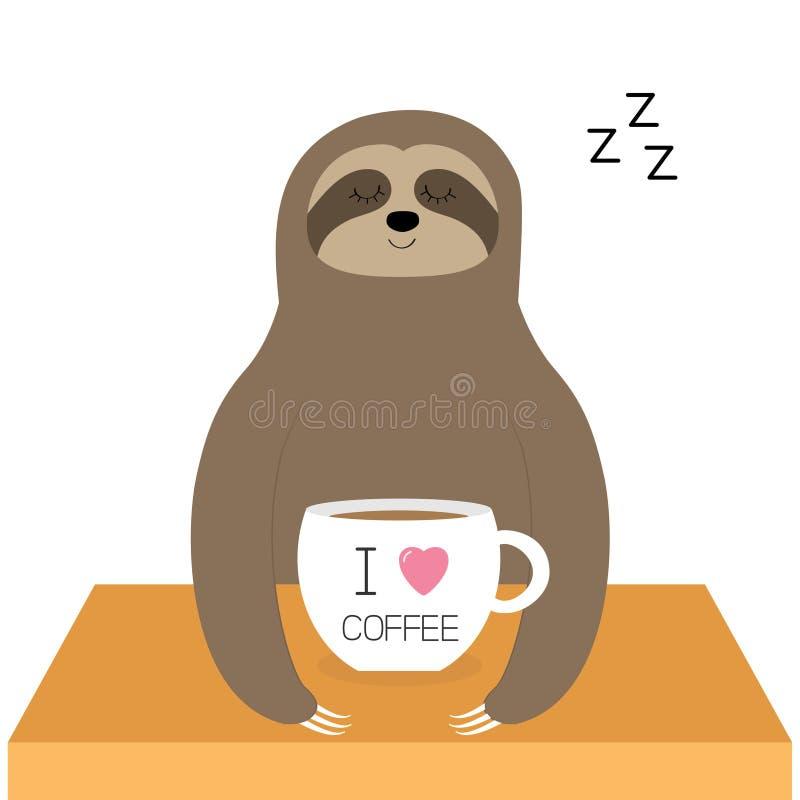 Luiaardzitting Ik houd koffie van kop Slaapteken zzz Theekopje op lijst Leuk de babykarakter van de beeldverhaal lui slaap Wild w vector illustratie