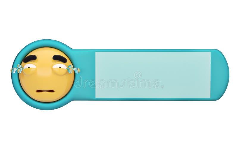 Luid gezicht emoticon op een raad 3D Illustratie royalty-vrije illustratie