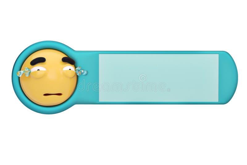 Luid gezicht emoticon op een raad 3D Illustratie vector illustratie