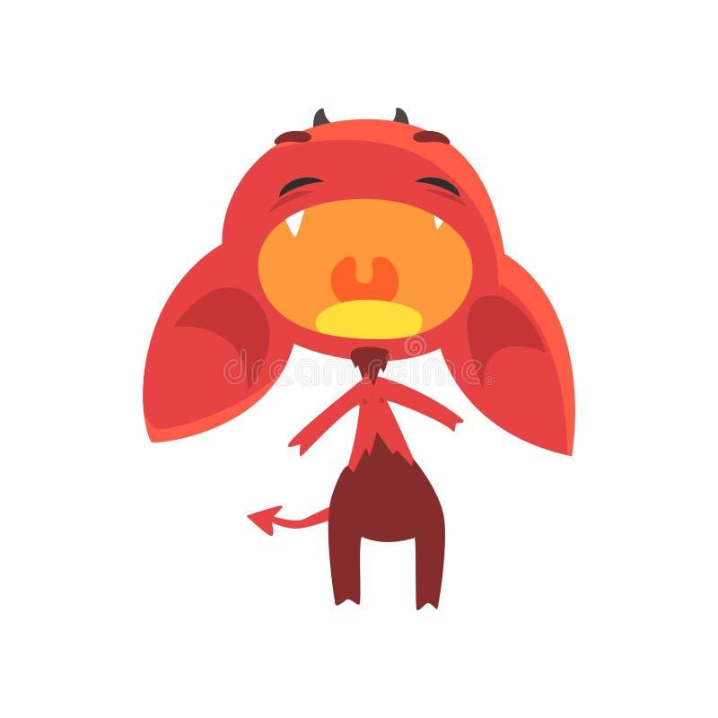 Luid schreeuwende weinig die duivelstribunes op witte achtergrond worden geïsoleerd Rood fictief demon met hoornen, afluisteraar  stock illustratie