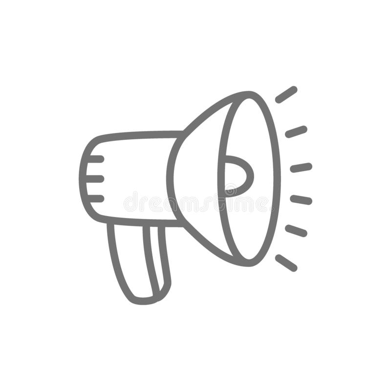 Luidspreker, het pictogram van de megafoonlijn vector illustratie
