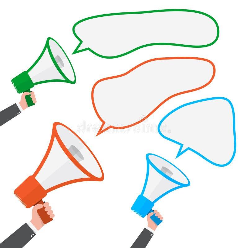 Luidspreker of megafoon met toespraakbel Vector illustratie vector illustratie
