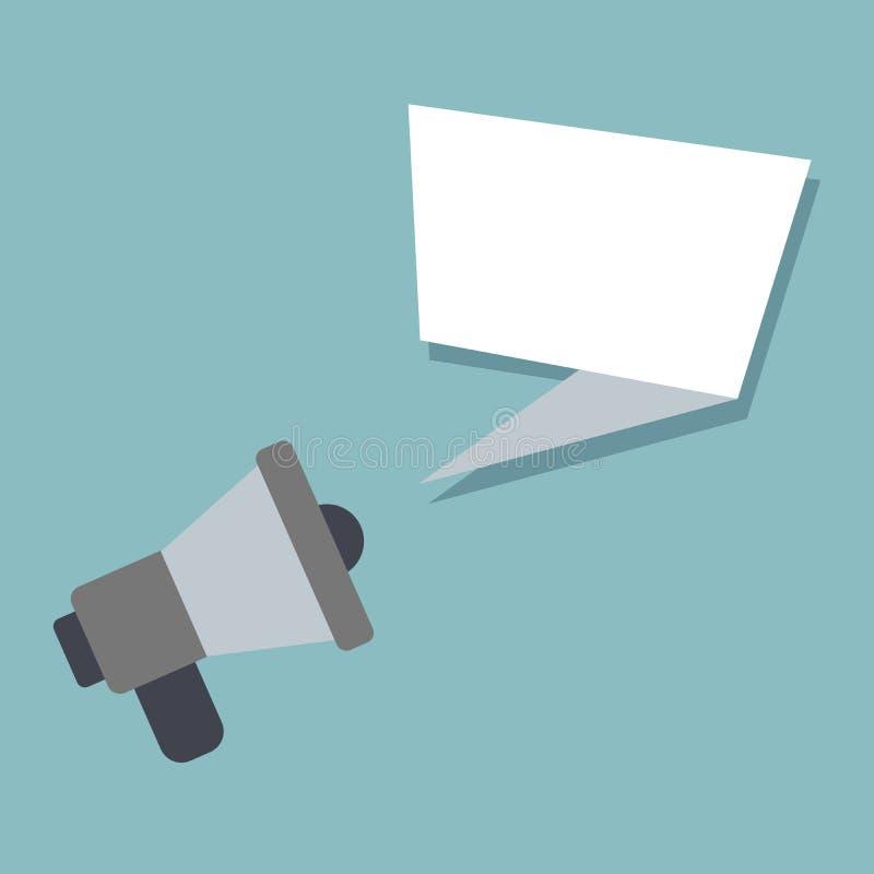 Luidspreker of megafoonpictogram megafoon met toespraakbel, op gekleurde achtergrond Illustratie stock illustratie