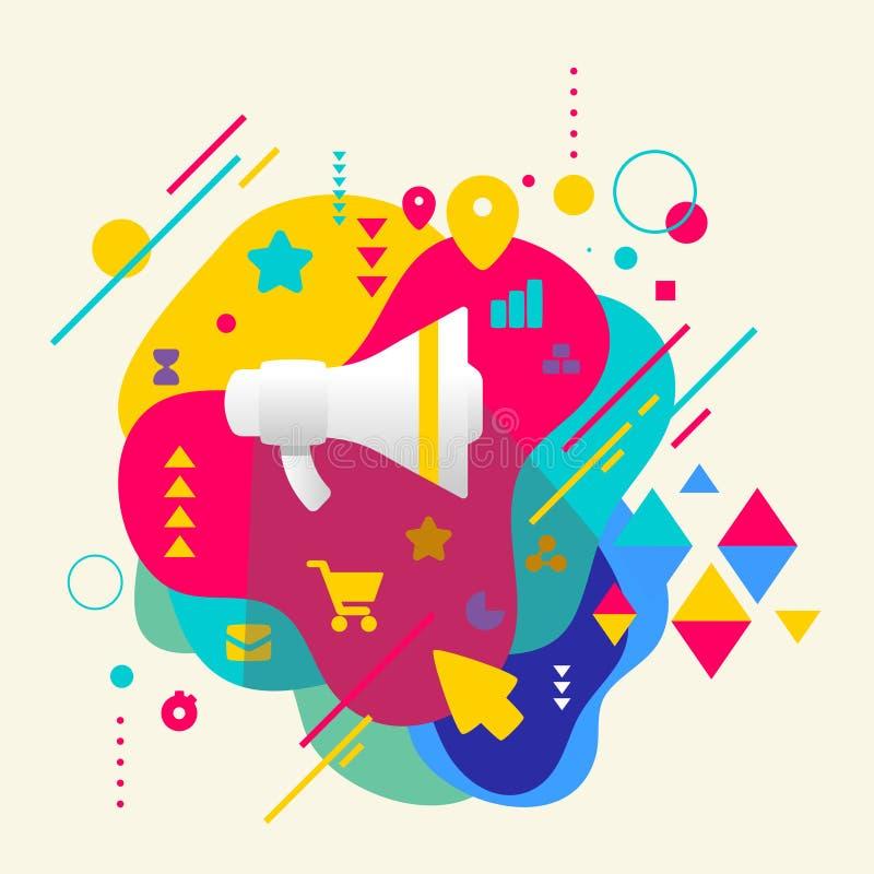 Luidspreker op abstracte kleurrijke bevlekte achtergrond met differe royalty-vrije illustratie