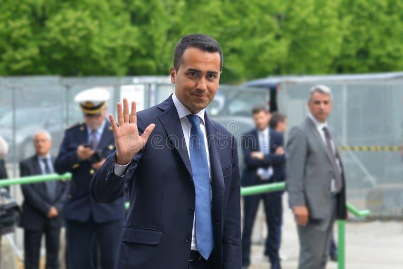 Luigi Di Maio kandidat av rörelsen för 5 stjärna till premiärministern i riksdagsvaldagen royaltyfri foto