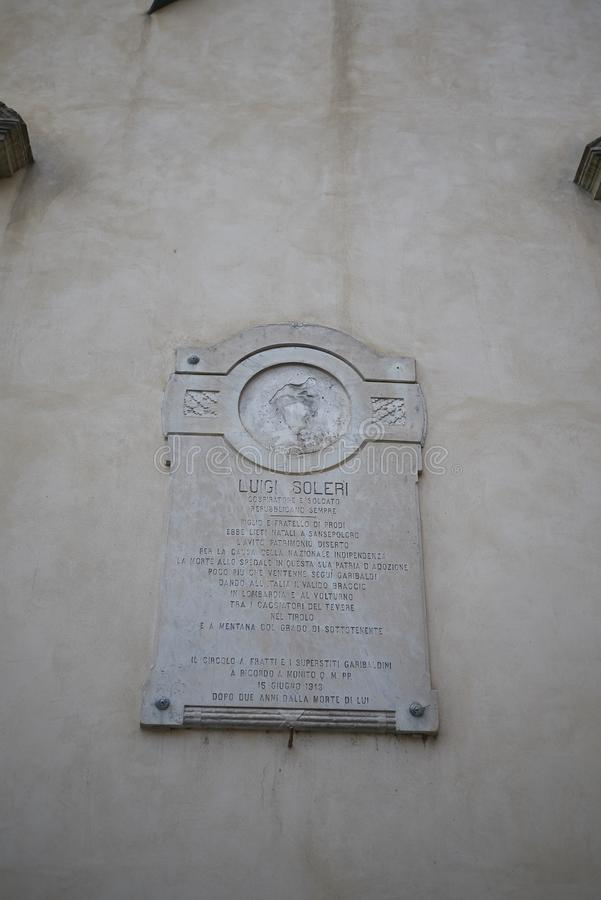 Luigi Soleri minnes- platta arkivfoto