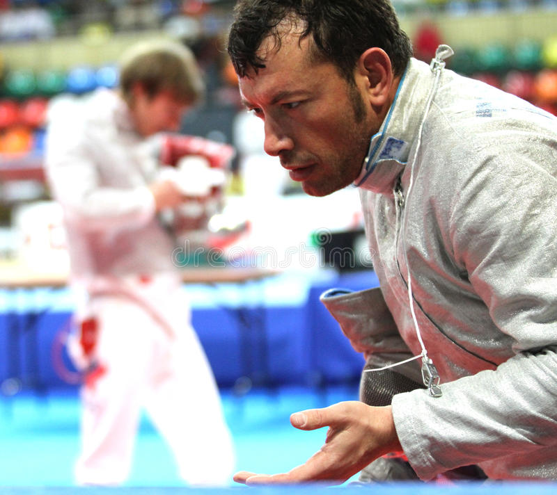 Luigi Tarantino. Italy's Luigi Tarantino compete at the 2010 RFF Moscow Saber World Fencing Tournament in Moscow, Russia royalty free stock photos