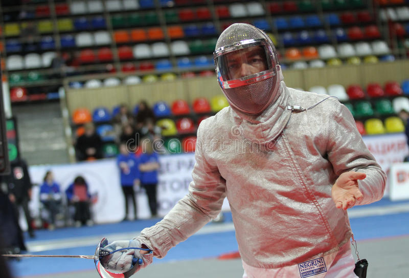 Luigi Tarantino in Moscow. Italy's Luigi Tarantino compete at the 2010 RFF Moscow Saber World Fencing Tournament in Moscow, Russia stock photos